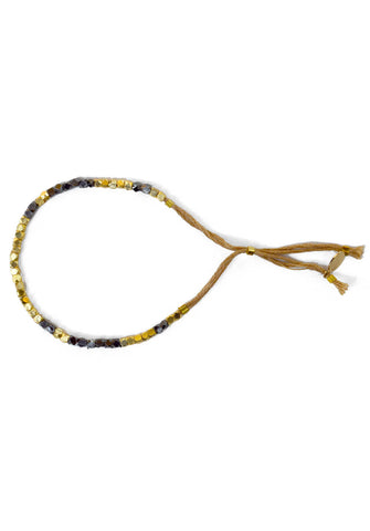 thread bracelet - gold jet camel