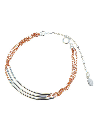 triple bar bracelet - silver rose