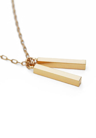 twin pendants necklace - gold