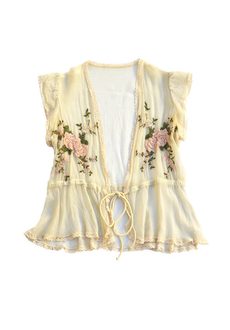 vintage boudoir top - embroidered roses