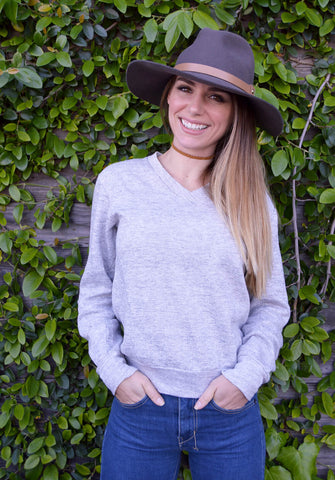 vintage v-neck sweatshirt - heather gray - size small