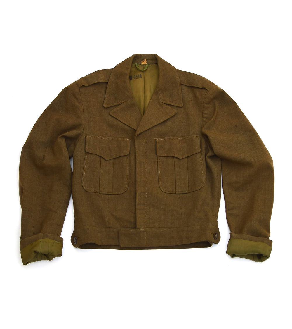 vintage military jacket - olive - men's size 36L