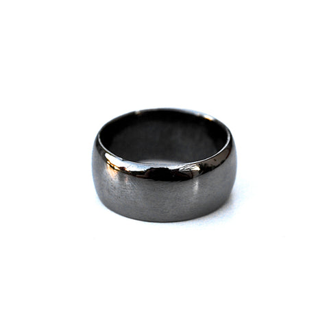 wide pinky ring - gunmetal - size 6