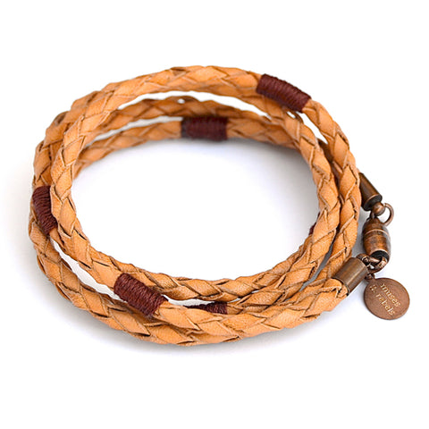 woven leather wrap bracelet - clay
