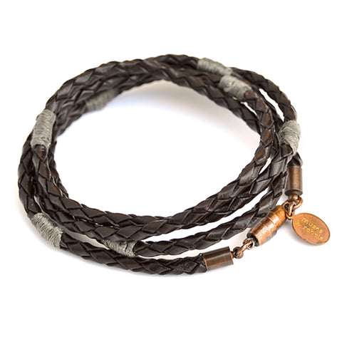 woven leather wrap bracelet - oak