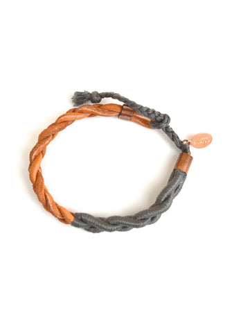wrapped braid bracelet - smoke
