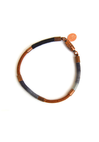 wrapped leather bracelet - shadow