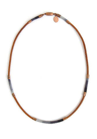 wrapped leather necklace - shadow