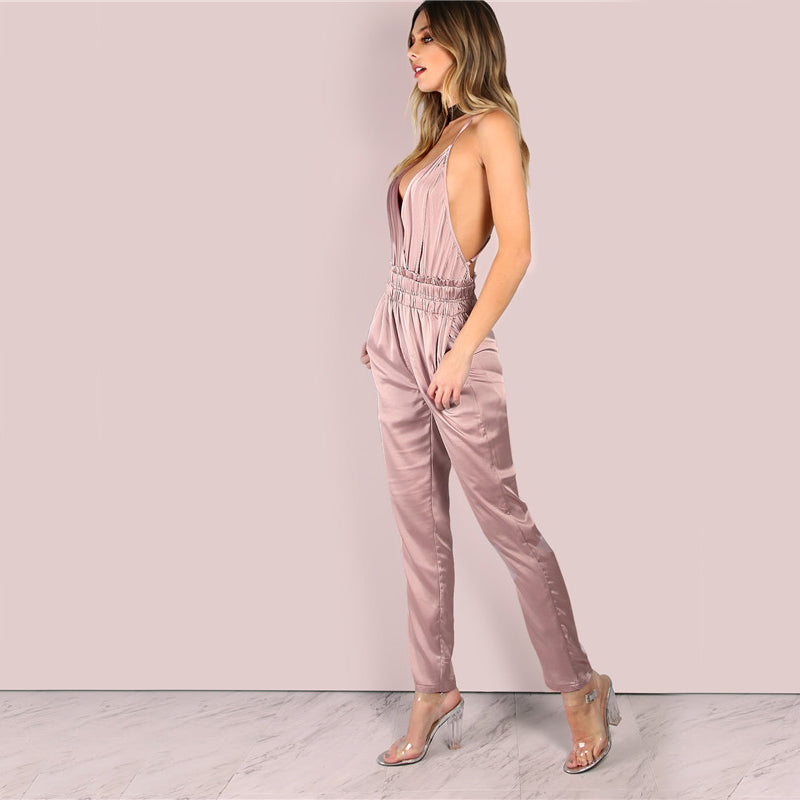 Dusty Pink Satin Slip Jumpsuits