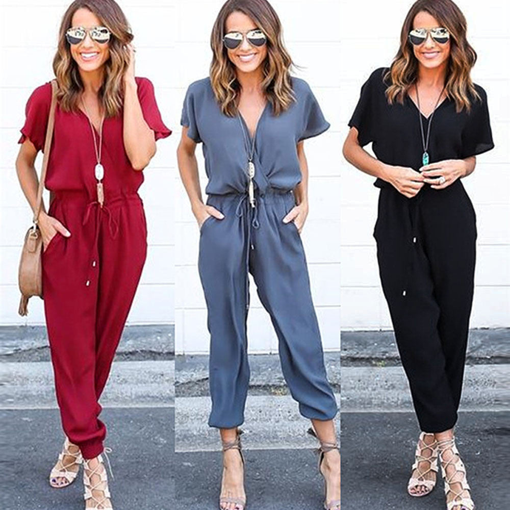 Short Sleeve Playsuit Jumpsuits