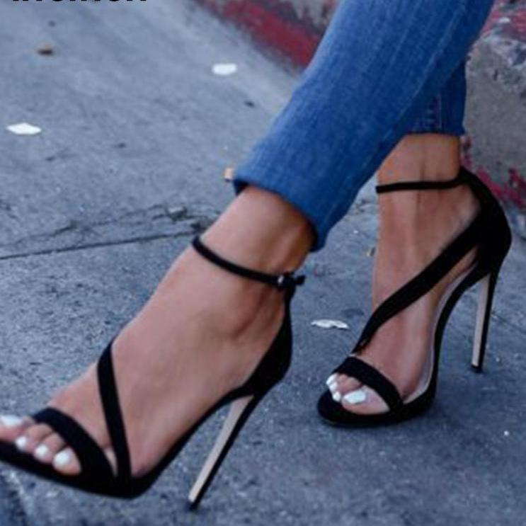 Black Faux Suede High Heels