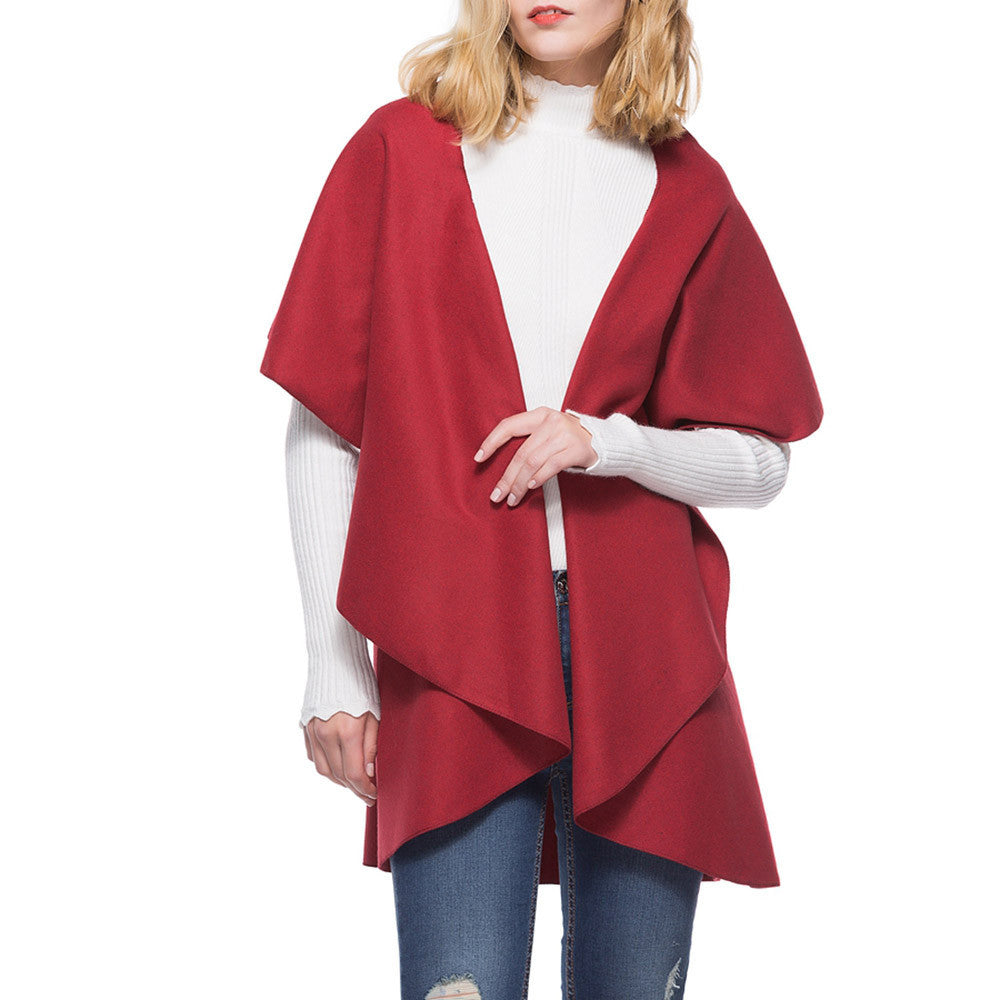 Irregular Warm Cardigan Short Sleeve lapel Coat