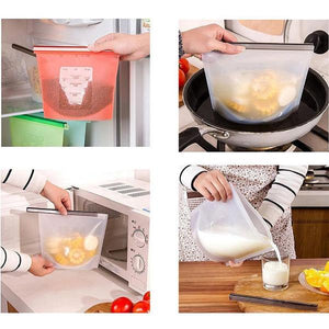 *Zero-Waste Reusable Silicone Food Storage & Cooking Bags - 4pc*