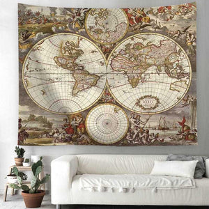 """Middle Ages"" World Map Tapestry"