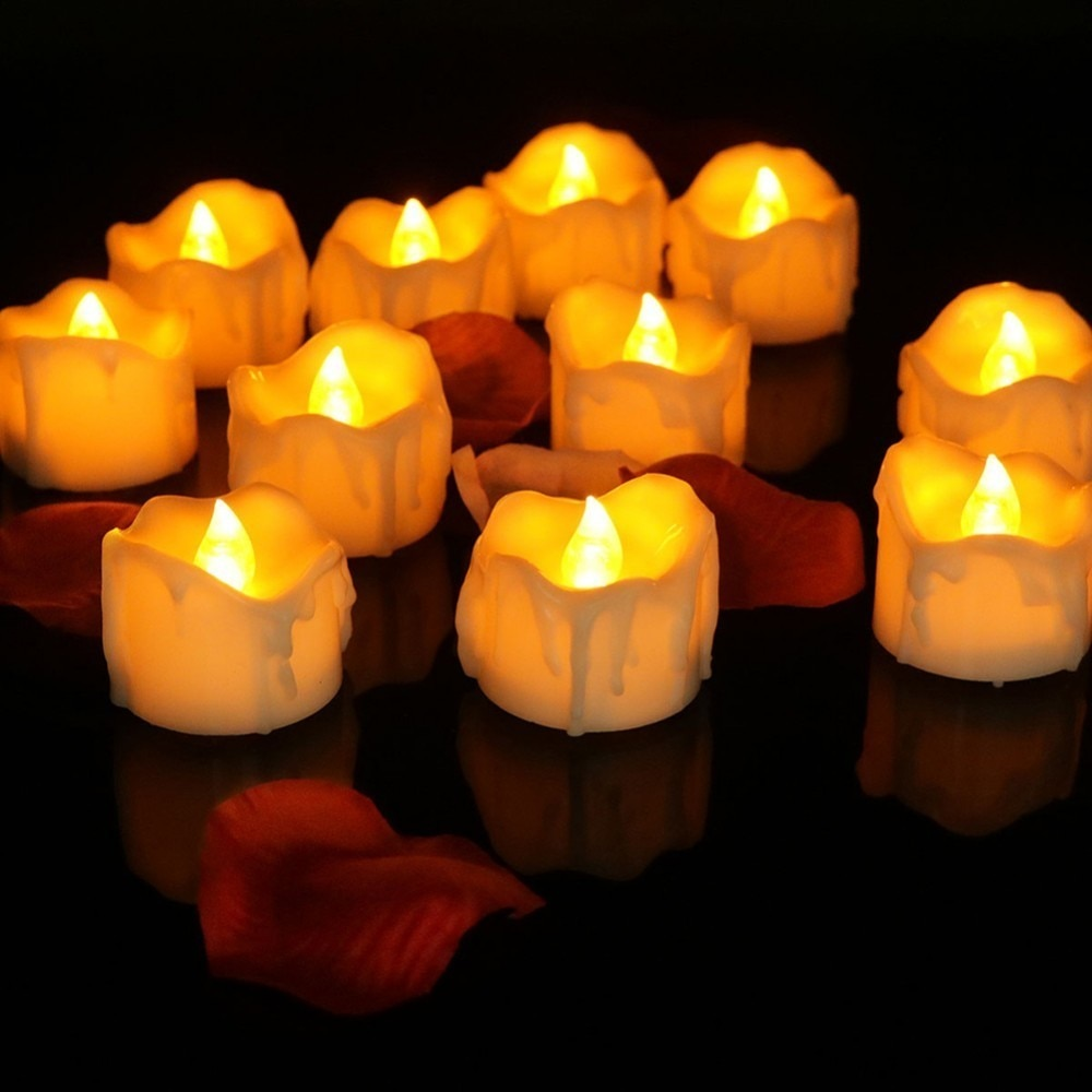 LED Tea Light Candles w/ Remote Control - 12pcs