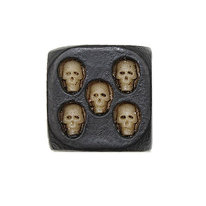 HANDCRAFTED BLACK SKULL DICE (SET OF 5)