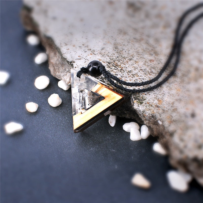 Triangle Wood Resin Necklace