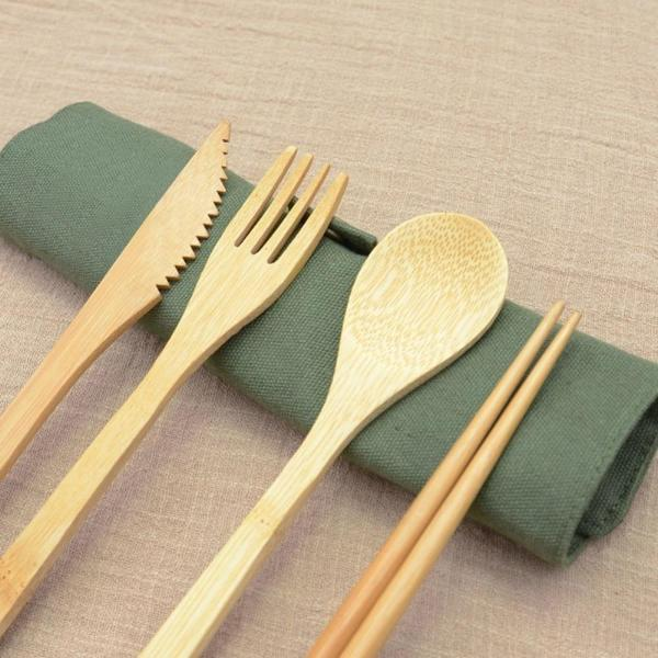 6 Pc Bamboo Travel Cutlery Set