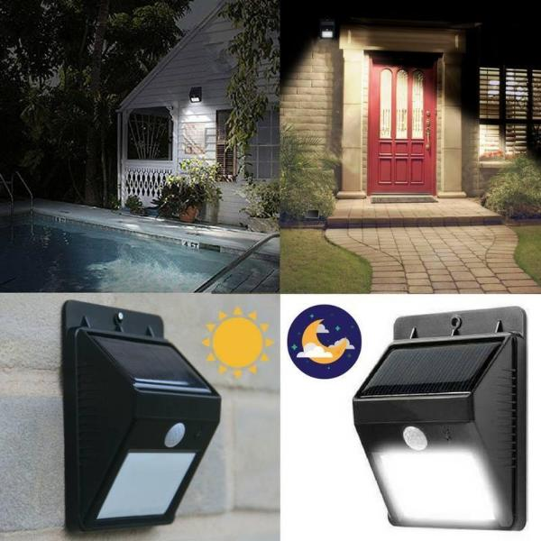 Solar Powered Outdoor Motion Sensor 6 LED Light - (NO WIRING NEEDED)