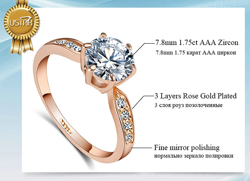 1.75ct AAA Zircon Engagement Rings for women Rose gold color Wedding rings - GTG