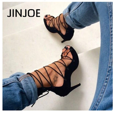 2017 Italy spring Ankle strap Rome style high-heeled sandals women high heels sandals  party wedding stiletto gladiator 34-40 - GTG