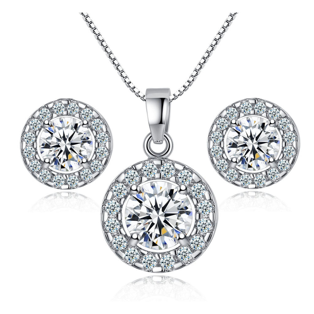 Wedding Engagement Jewelry Set for Women Silver Round Pendant Statement Necklace - GTG