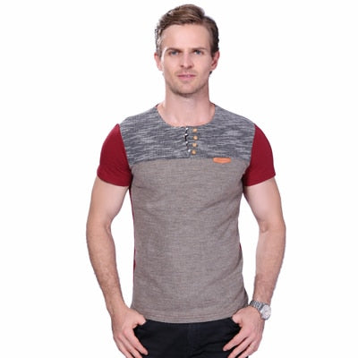 Summer Fashion Men's T Shirt Casual Patchwork Short Sleeve T Shirt - GTG