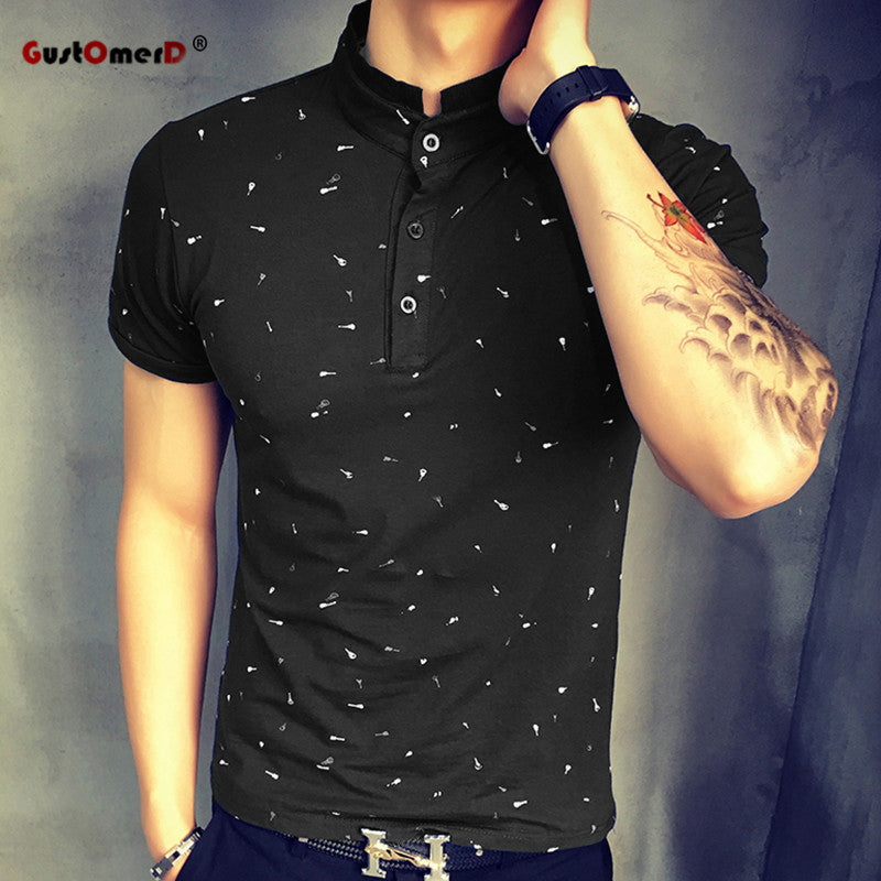 Summer Guitar Printed Polo Shirt Men Short Sleeve Casual Men Slim Fit - GTG