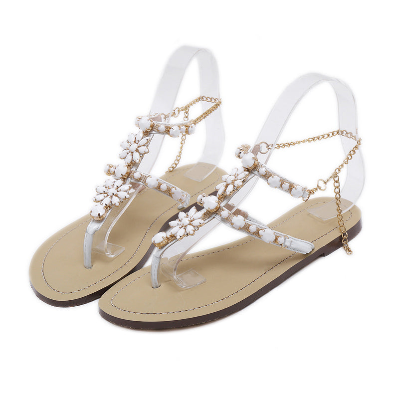 2017 Woman Sandals Women Shoes Rhinestones Chains Thong Gladiator Flat Sandals Crystal Chaussure Plus Size 46 tenis feminino - GTG