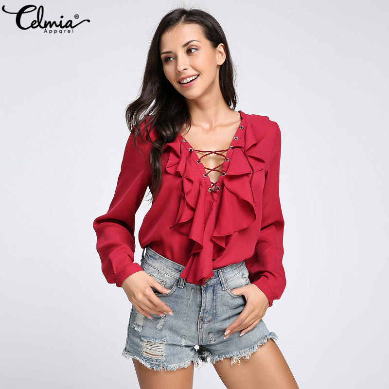 2018 Autumn Celmia Women Blouses and Tops Sexy Deep V Neck Long Flare Sleeve Lace Up Female Chiffon Shirt Casual Blusa Femininas - GTG