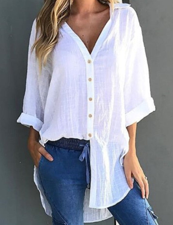 2018 Autumn Ladies Asymmetrical Tops Loose Cotton Tops Women Long Sleeve Shirts Buttons Blouse Plus Size Long Blouses - GTG
