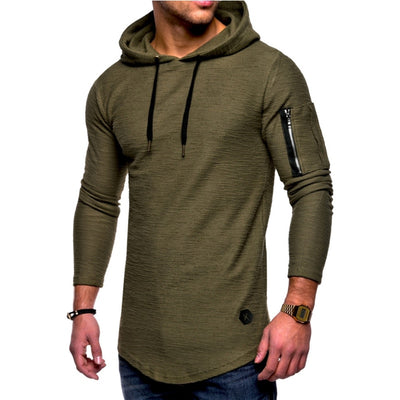 2018 Autumn New Fashion Mens Hoodies Brand Men Solid Color Hooded Sling Sweatshirt - GTG