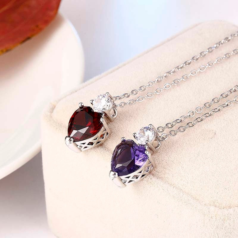 2018 Necklace Heart CZ Silver Color Pendant Vintage Punk Red Purple Stone Necklace - GTG