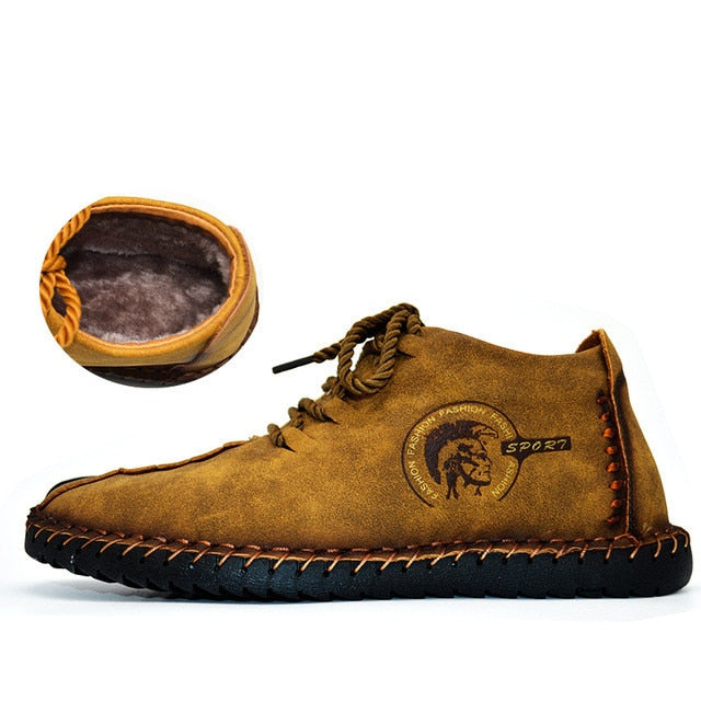 2018 Fashion Leather Shoes Men Handtailor Vintage Huarache Moccasins Non-slip - GTG
