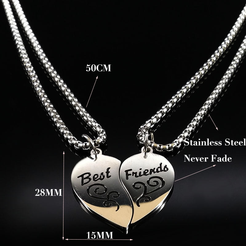 2018 Fashion Pair Stainless Steel Necklace Women Silver Color Best Friend Pendants Jewelry - GTG