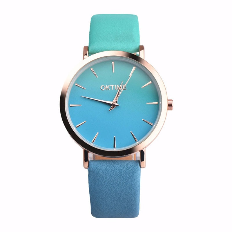 2018 Fashion WristWatch Retro Rainbow Design Women Dress Watch Quartz Leather  Watches gift for lovers Montre Relogio  #D - GTG