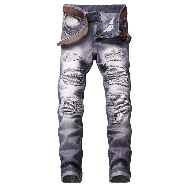 2018 High Quality Men Coated Slim Straight Pleated Biker Jeans Pants Denim Casual Pants - GTG