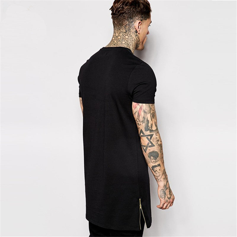 2018 Long Size Black Mens T shirt Tops T Shirt men Short Sleeve Casual T-Shirt - GTG