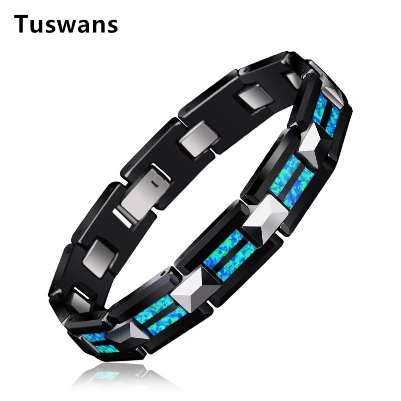 2018 Luxury Natural Opal Tungsten Steel Black Ceramic Bracelet Bangle For Women Men Fashion Charms Bracelet homme femme Jewelry - GTG