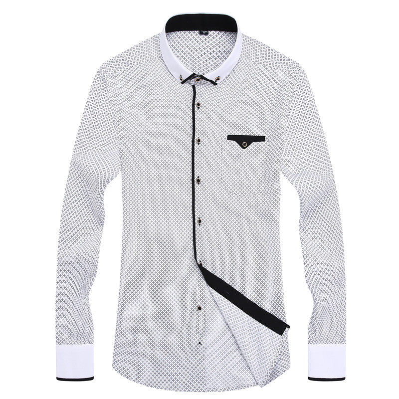 2018 Men Fashion Casual Long Sleeved Printed shirt Slim Fit  Business Dress Shirt Men - GTG