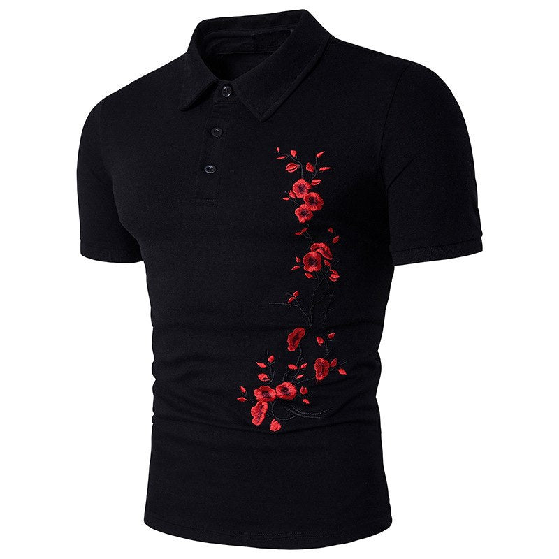2018 New Arrival Flower Embroidery Polo Shirt Good Quality Men Short Sleeve Slim Fit Mens Polo Shirt Brands Summer Shirts B80 - GTG