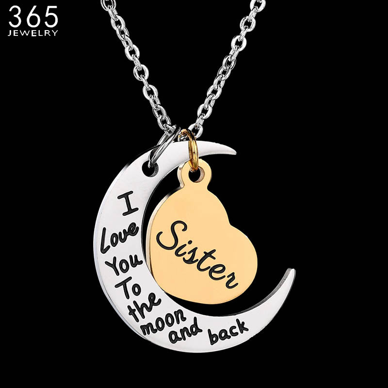 2018 New Arrive Cute Heart & Moon Pendant Necklace Stainless Steel Forever Love Necklace - GTG
