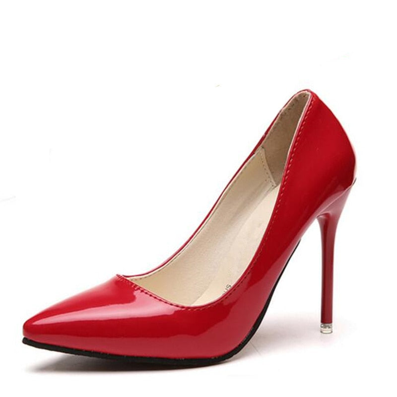 2018 New Fashion high heels women pumps thin heel classic white red nede beige sexy prom wedding shoes Blue Red wine - GTG