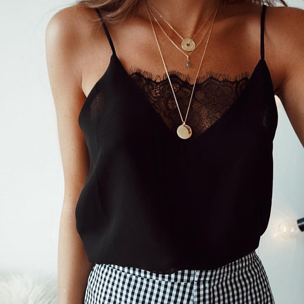 2018 New Lace Women Slip Tank Tops Female Sexy Strap Tops  Summer Ladies Chiffon Sleeveless See Black White Honda - GTG