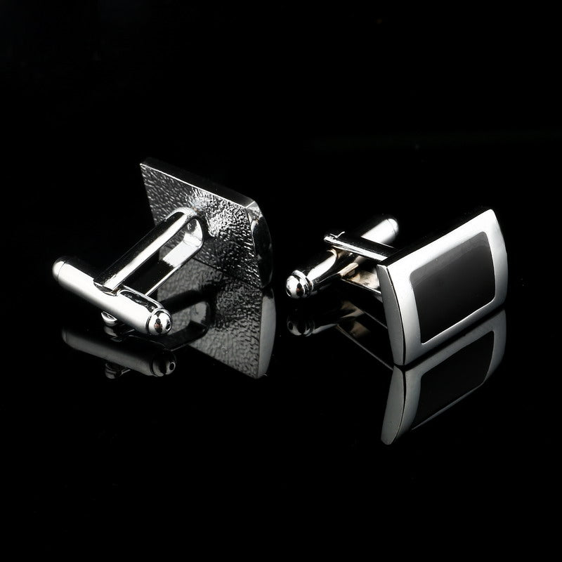 2018 New Simple Style Black Rectangle Cufflinks Mens Shirt Cuff Button - GTG