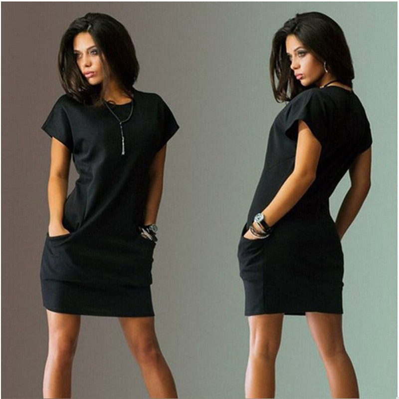 2018 New Summer Fashion Women Short Sleeve O-Neck Black Blue Dresses Slim - GTG