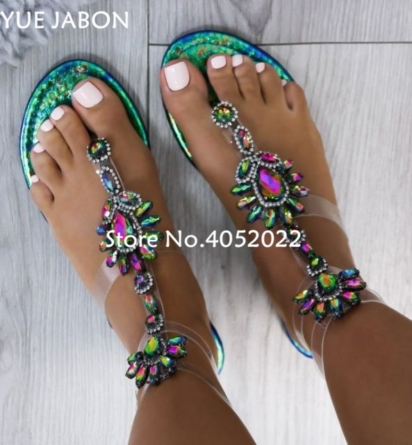 2018 New woman sandals women Rhinestones Chains Flat Sandals plus size  Thong Crystal Flip Flops sandals ea3b9a8de96e