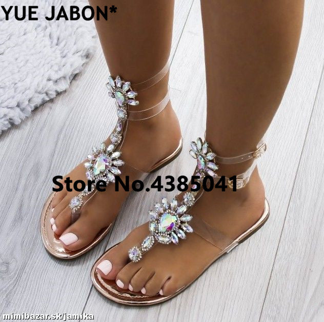 277ad253c58ab9 2018 New woman sandals women Rhinestones Chains Flat Sandals plus size  Thong Crystal Flip Flops sandals