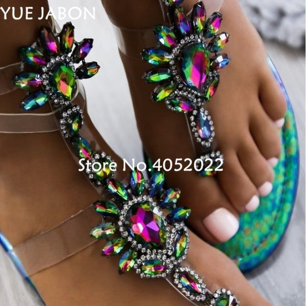 2018 New woman sandals women Rhinestones Chains Flat Sandals plus size Thong Crystal Flip Flops sandals gladiator sandals - GTG
