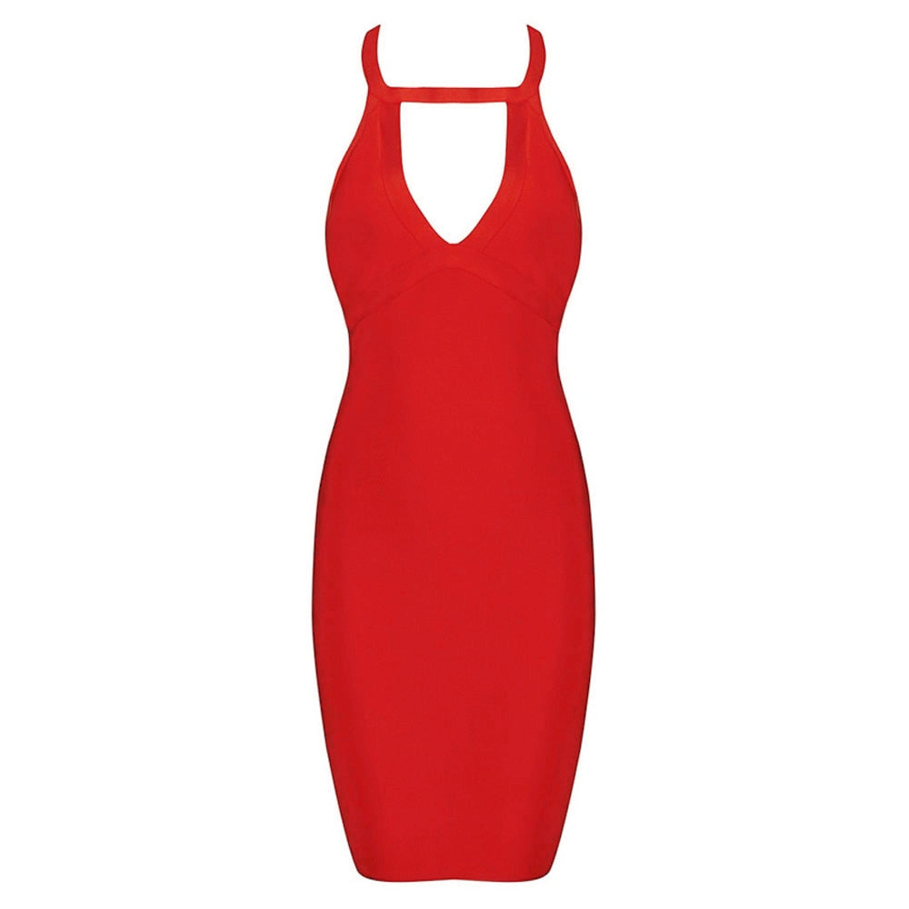 2018 Newset Halter Neck Sleeveless Keyhole Sexy Bodycon Women Celebrity Club Party Bandage Dress - GTG
